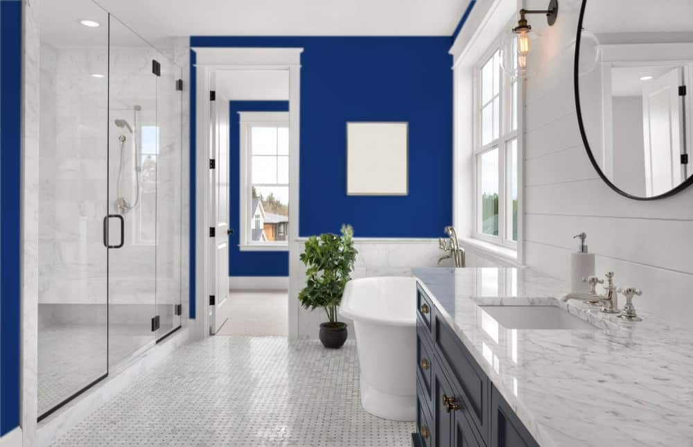 Navy Blue Master Bathroom Interior - Pantone 280