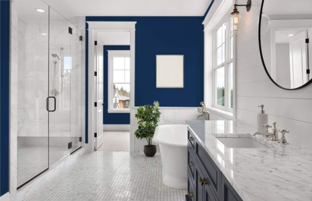 Dark Blue Master Bathroom Interior - Pantone 282