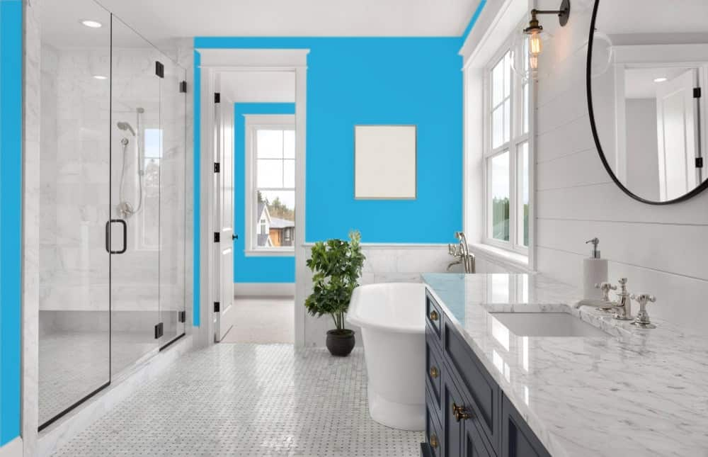 Sky Blue Master Bathroom Interior - Pantone 299