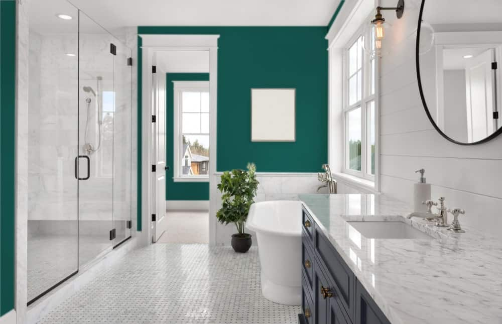 Blue Green Master Bathroom Interior - Pantone 330