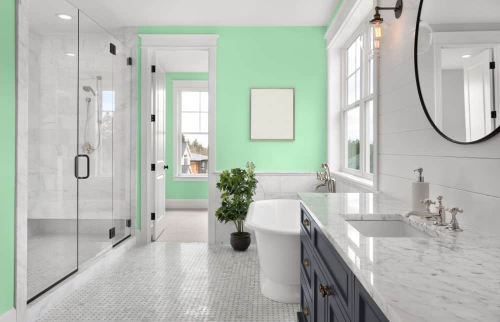 Light Green Master Bathroom Interior - Pantone 344