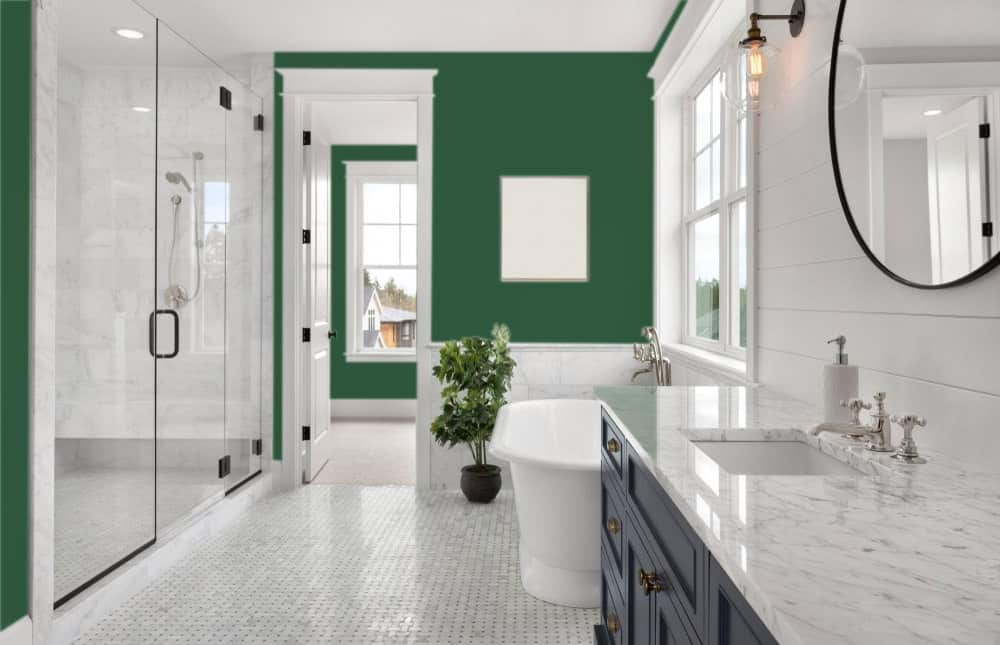 British Racing Green Master Bathroom Interior - Pantone 350
