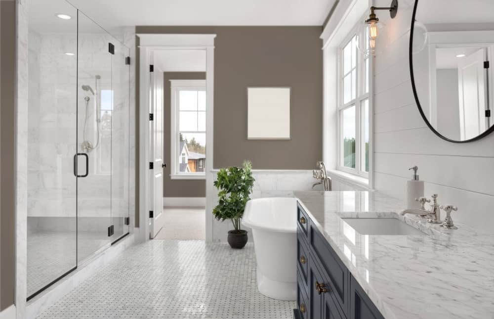 Dark Beige Master Bathroom Interior - Pantone 404