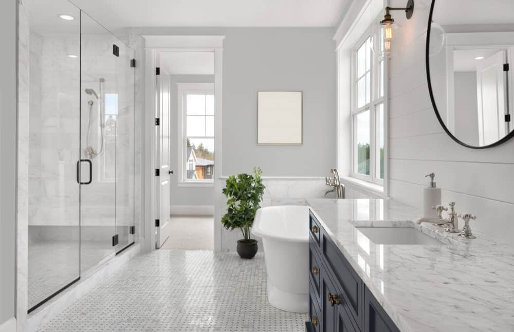 Gray Master Bathroom Interior - Pantone 429