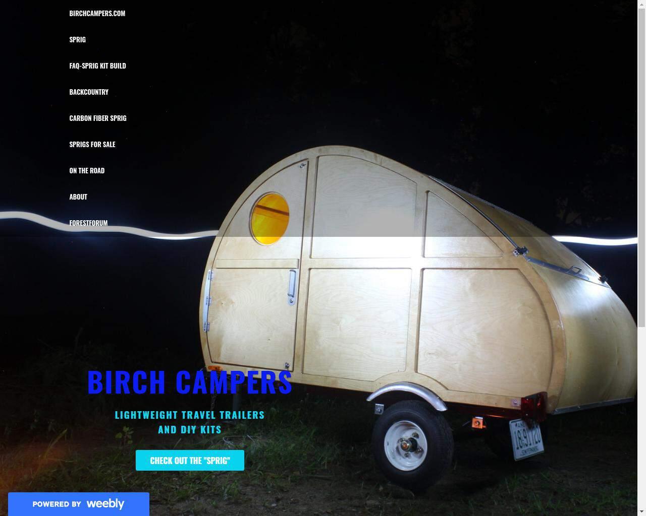 Birch Campers website