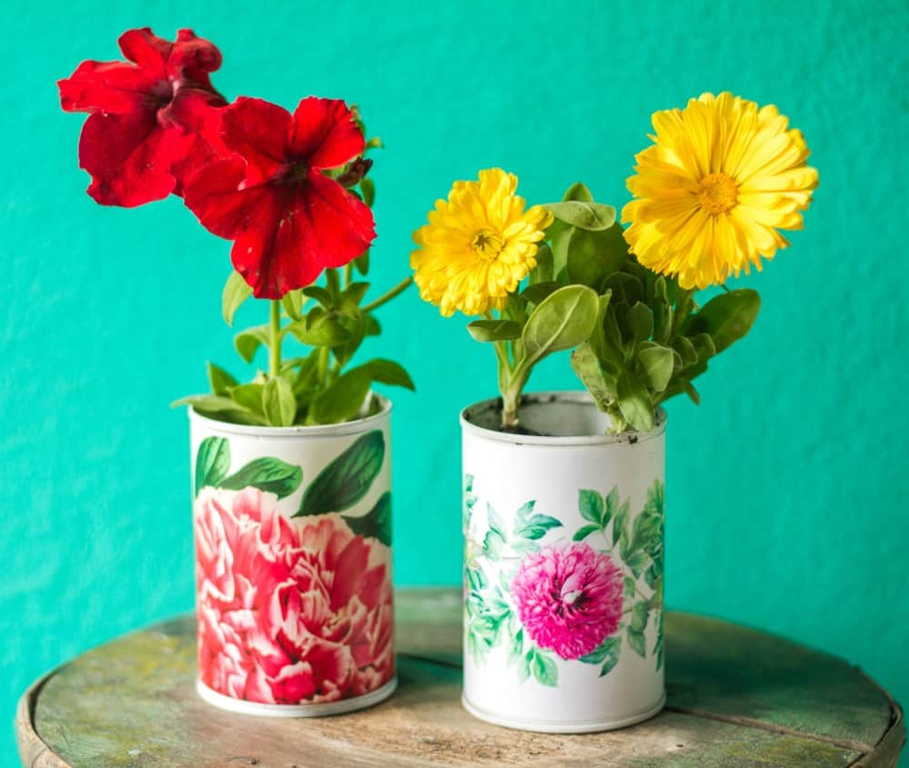 Colorful can planter