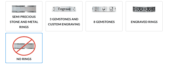 Decorative knife ring options by Craftstone Knives