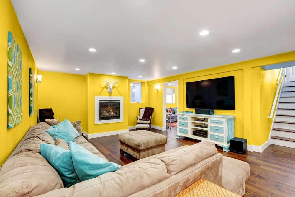Mustard Yellow Basement Interior - Pantone 117