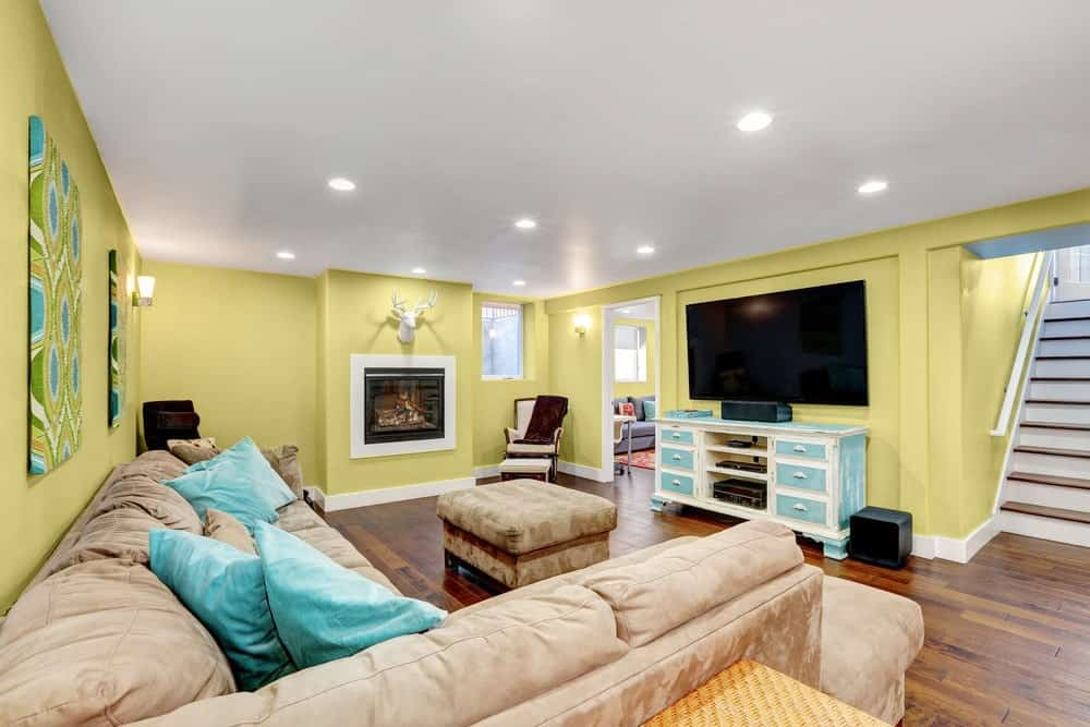 Soft Yellow Basement Interior - Pantone 127