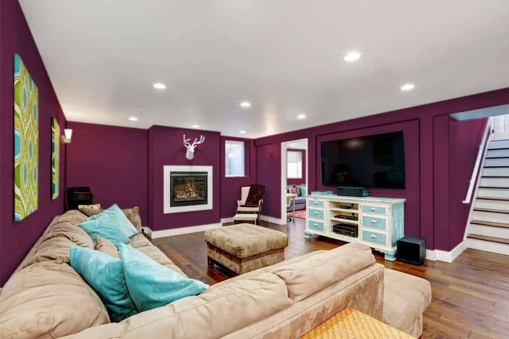 Deep Purple Basement Interior - Pantone 222