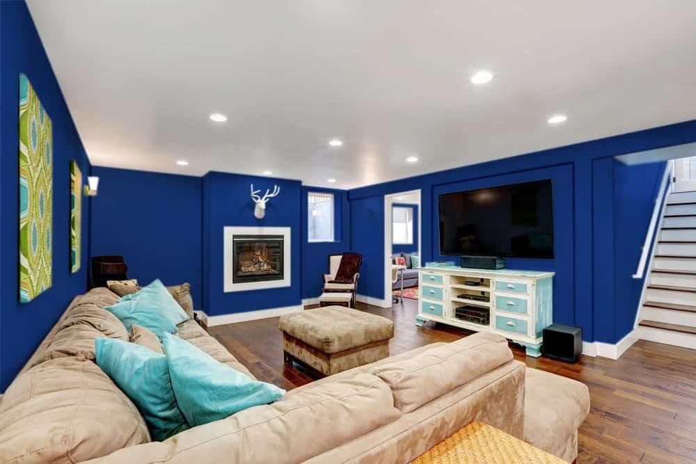 Navy Blue Basement Interior - Pantone 280