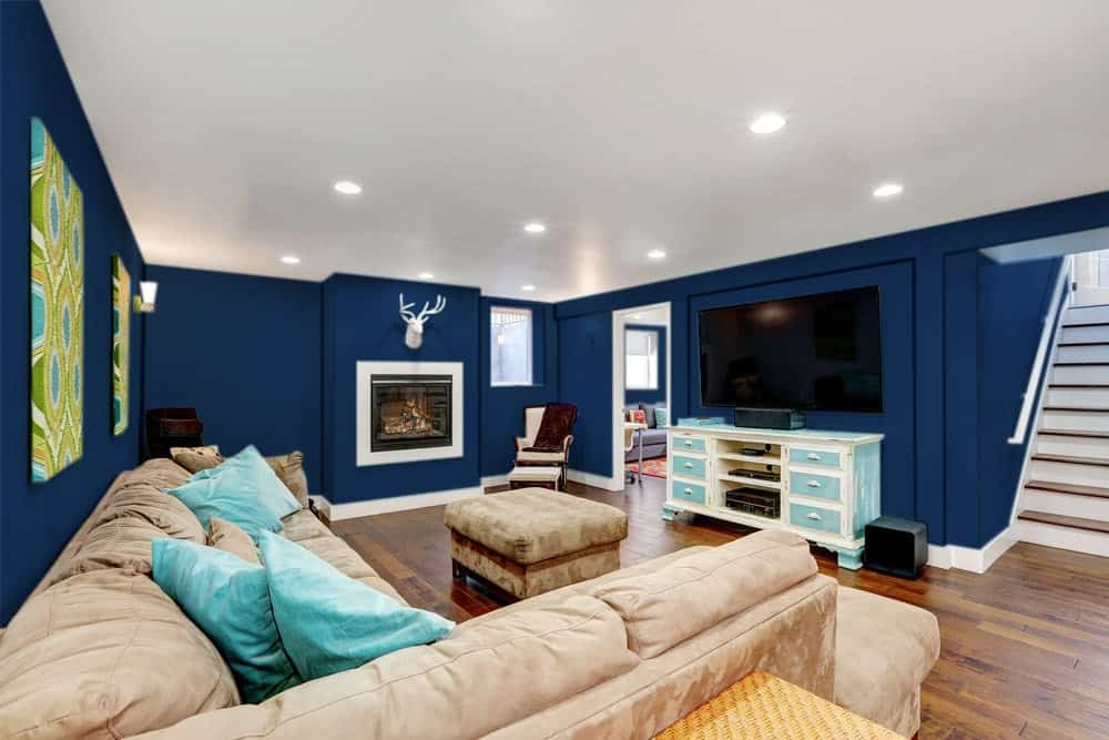 Dark Blue Basement Interior - Pantone 282