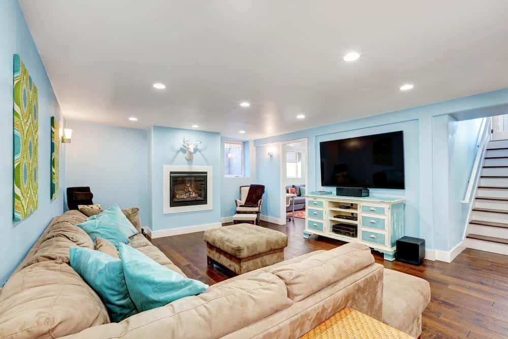 Light Blue Basement Interior - Pantone 290