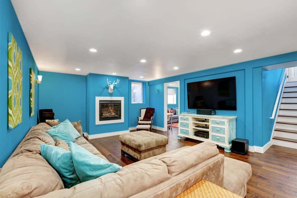 Sky Blue Basement Interior - Pantone 299