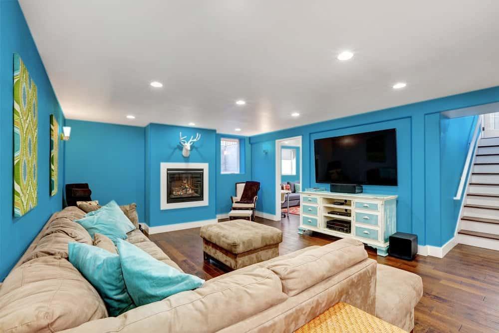 Sky Blue Basement Interior - Pantone 299