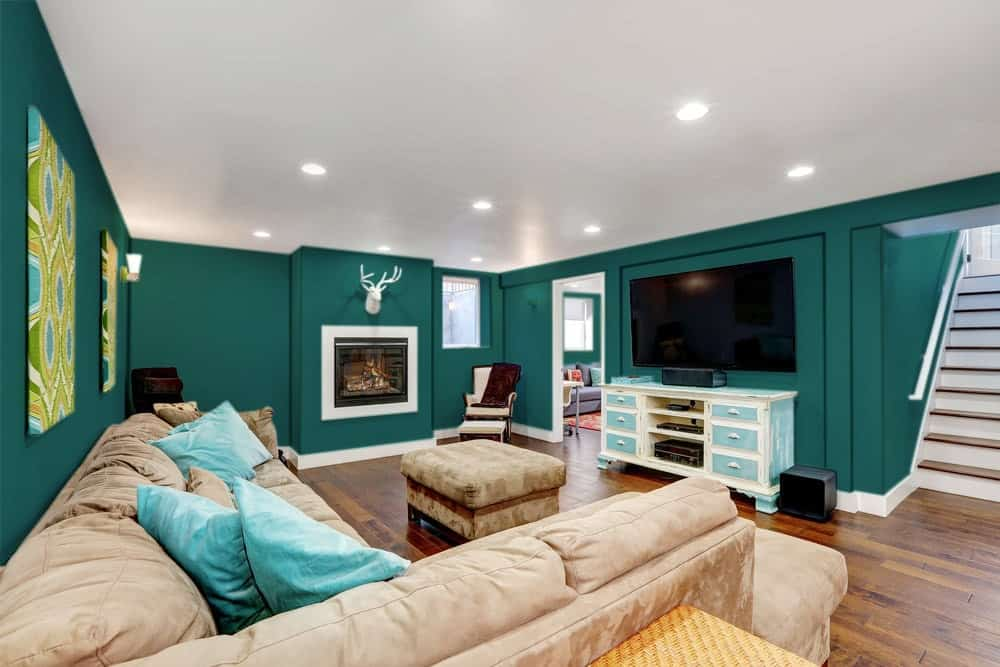Blue Green Basement Interior - Pantone 330