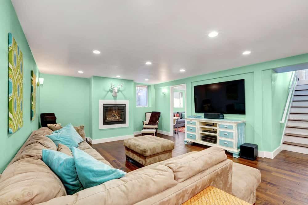 Light Green Basement Interior - Pantone 344