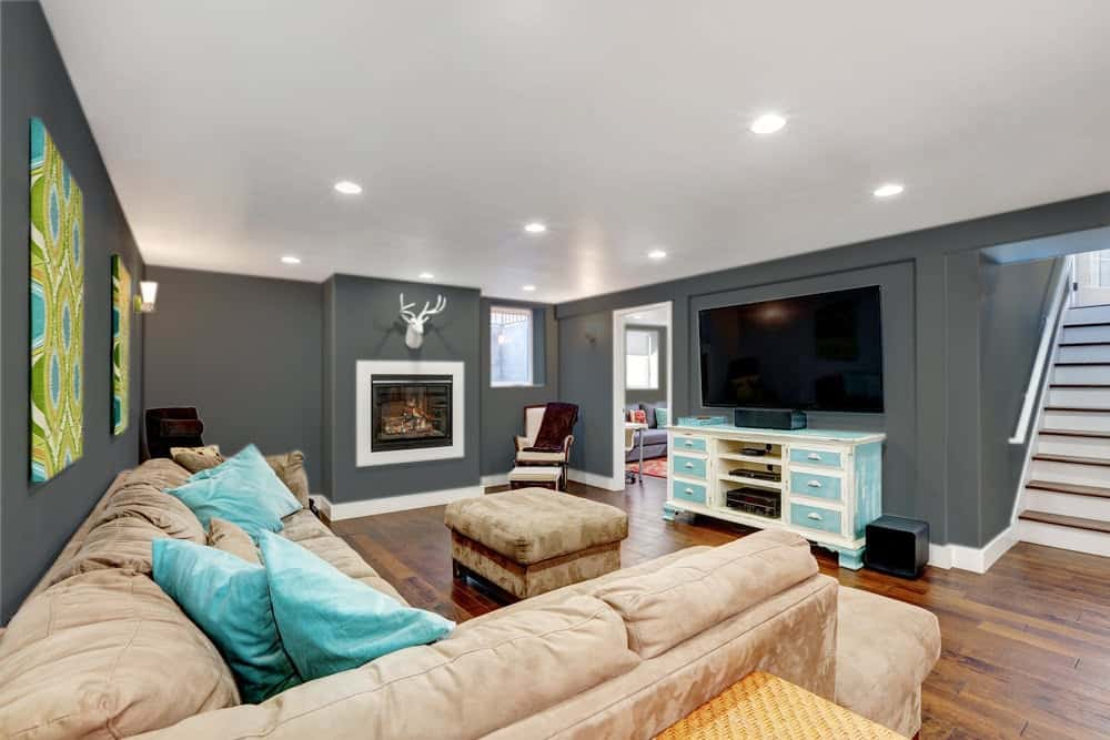 Dark Gray Beige Basement Interior - 425