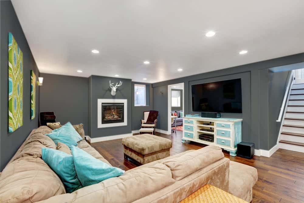 Dark Gray Beige Basement Interior - 425