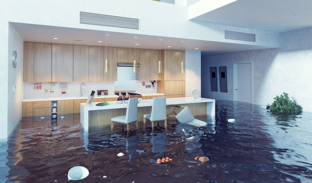 Home interior inundated by flood.
