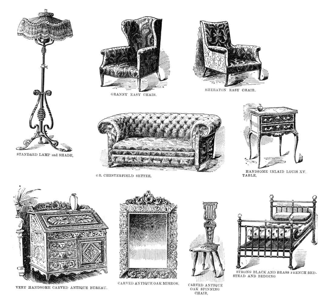 Illustration of different Victorian furniture items