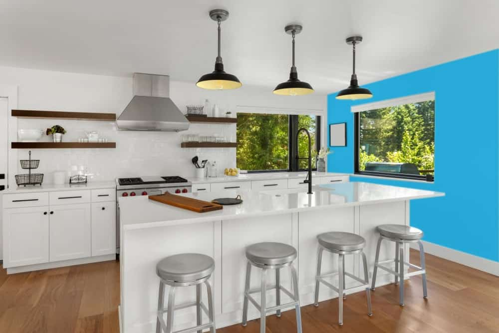 Sky Blue Kitchen Interior - Pantone 299