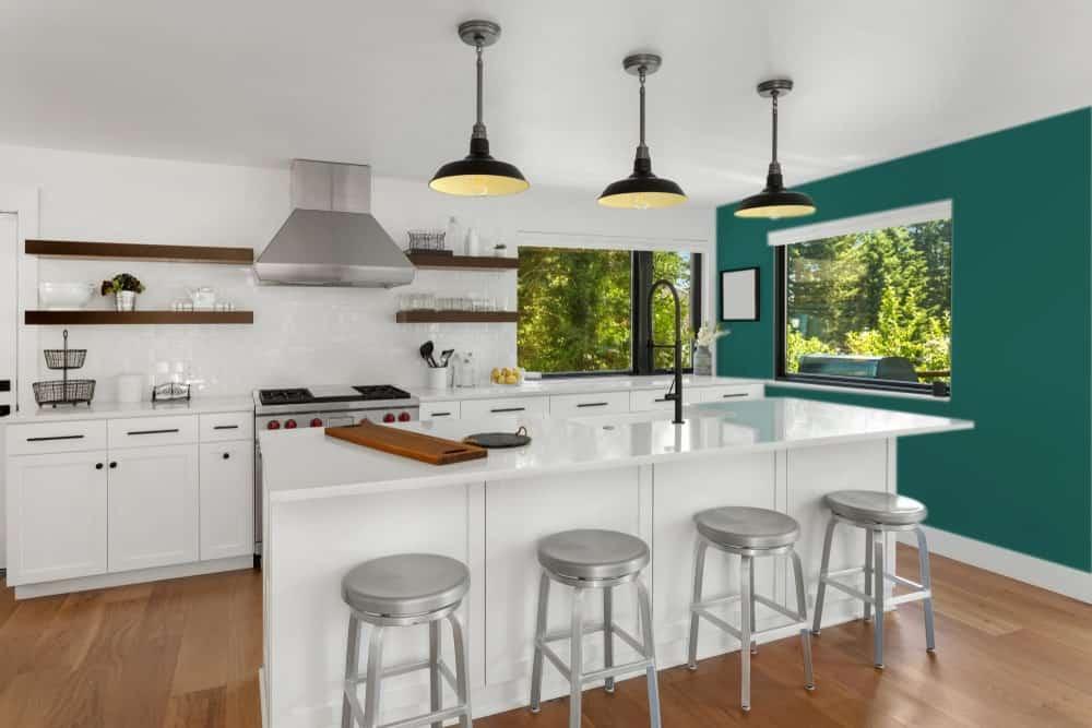 Blue Green Kitchen Interior - Pantone 330