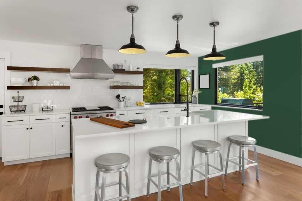 British Racing Green Kitchen Interior - Pantone 350