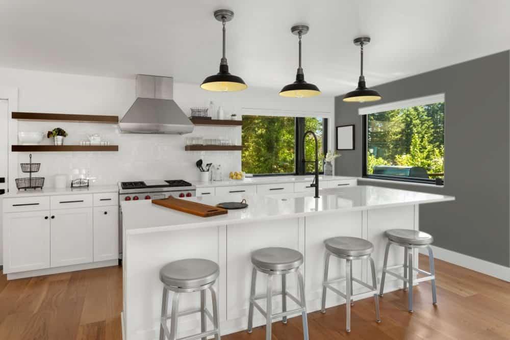 Dark Gray Beige Kitchen Interior - Pantone 425