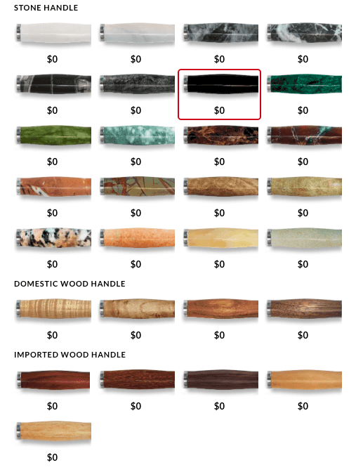 Knife handle designs by Craftstone Knives
