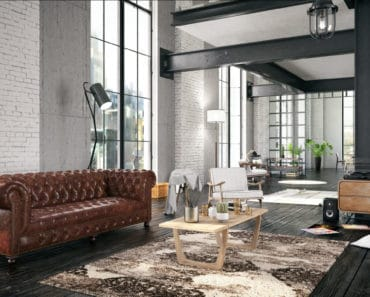 Leather Chesterfield sofa in living room
