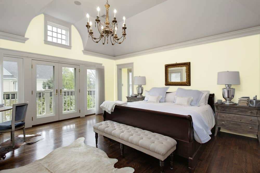 Light Green Master Bedroom Interior - Pantone 5807