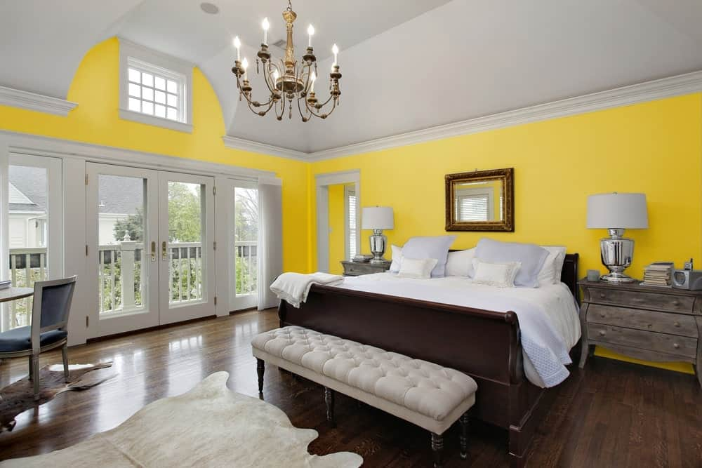 Mustard Yellow Master Bedroom Interior - Pantone 117