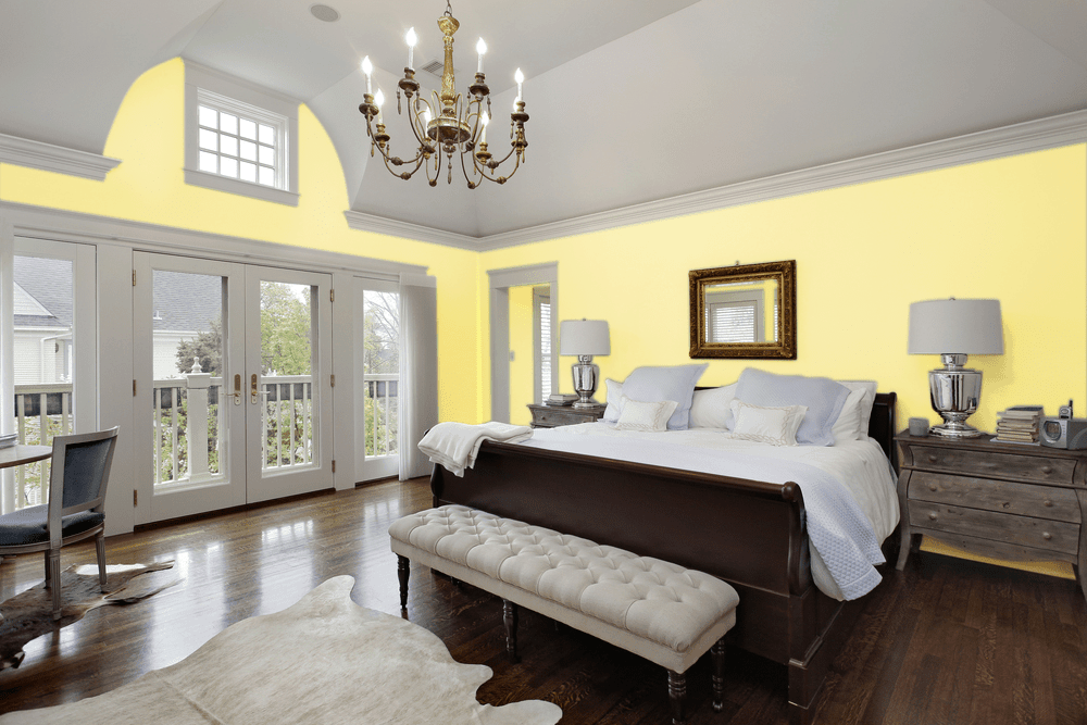 Soft Yellow Master Bedroom Interior - Pantone 127