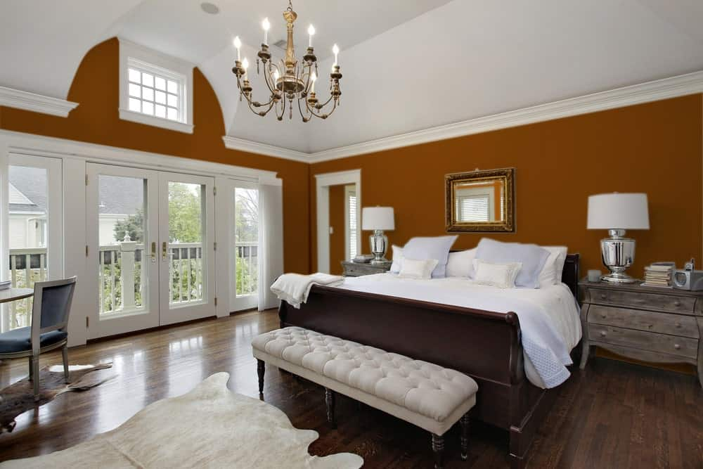 Brown Orange Master Bedroom Interior - Pantone 160