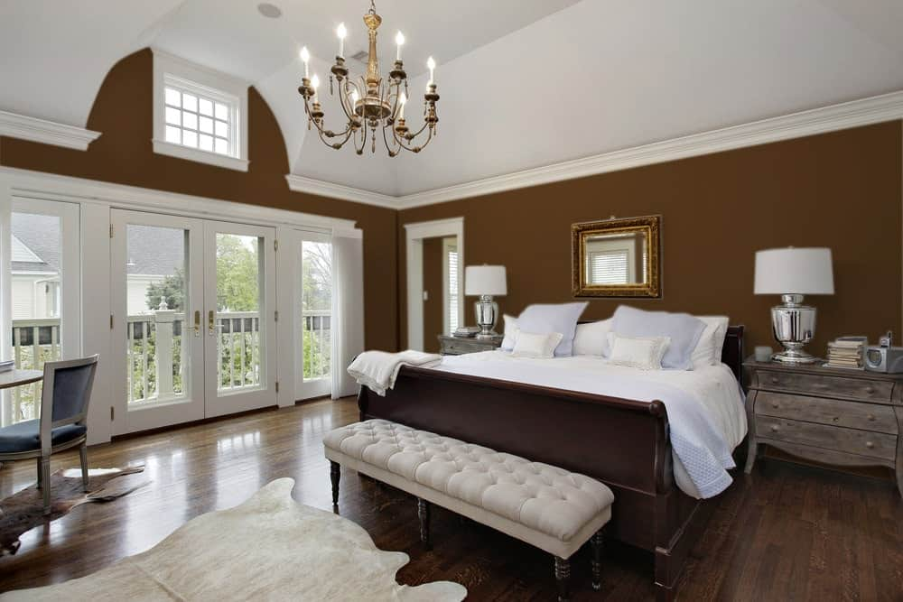Brown Master Bedroom Interior - Pantone 161