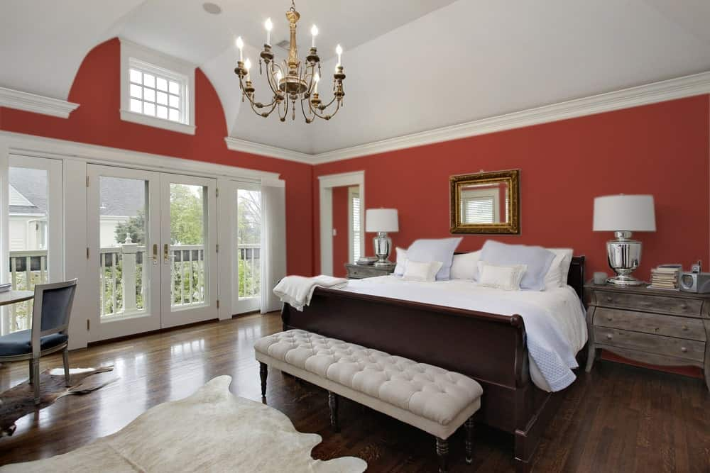 Red Master Bedroom Interior - Pantone 180
