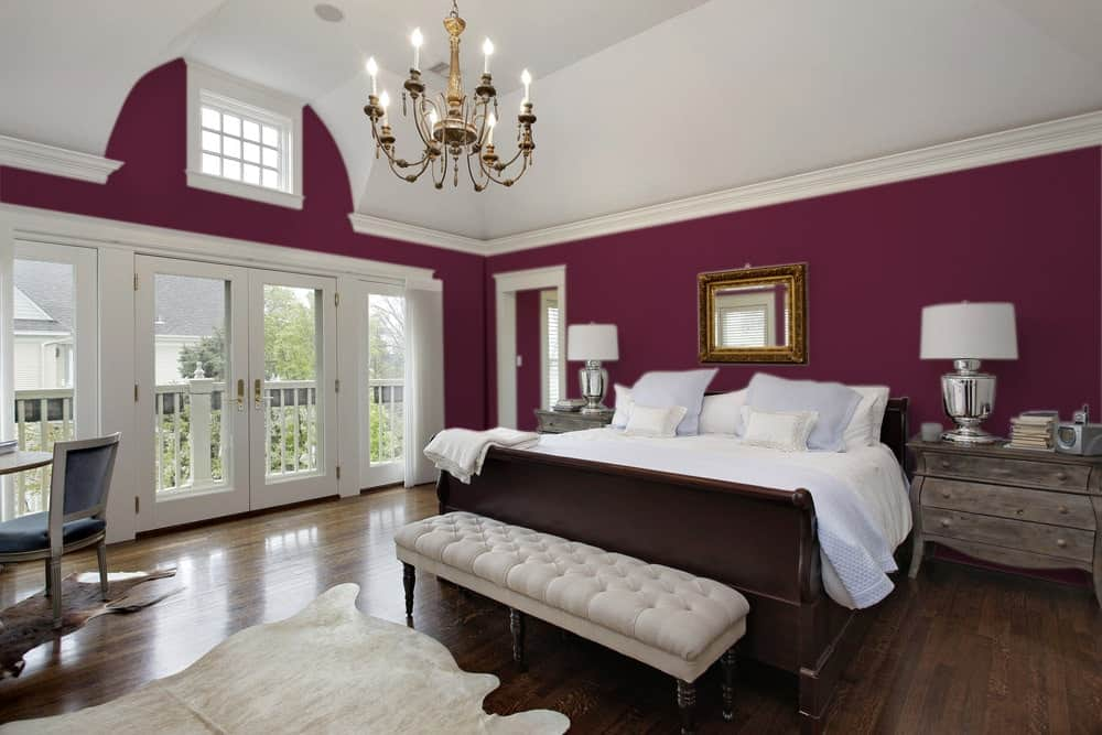 Deep Purple Master Bedroom Interior - Pantone 222