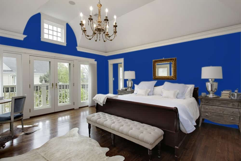 Navy Blue Master Bedroom Interior - Pantone 263