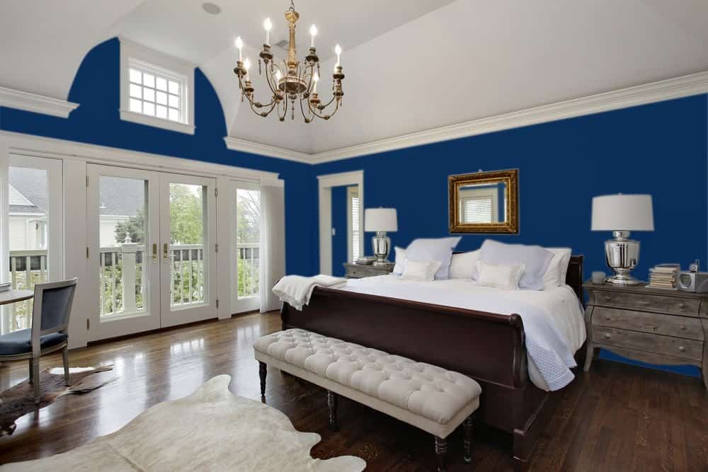 Dark Blue Master Bedroom Interior - Pantone 282