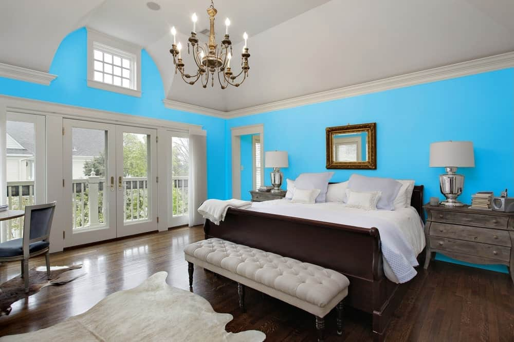 Sky Blue Master Bedroom Interior - Pantone 299