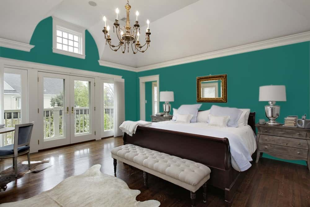 Blue Green Master Bedroom Interior - Pantone 330