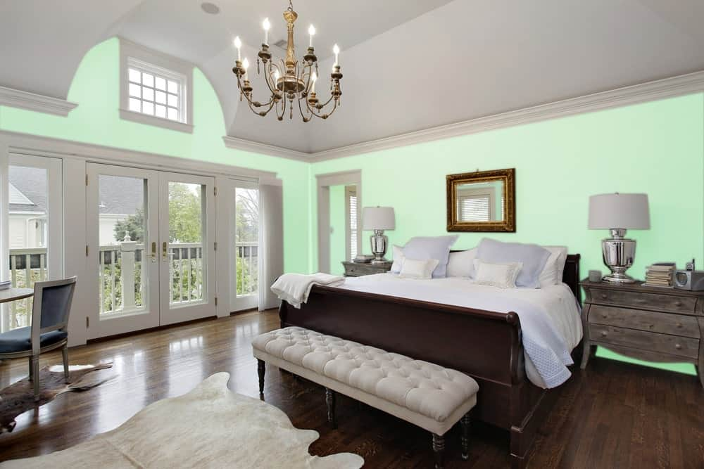 Light Green Master Bedroom Interior - Pantone 344