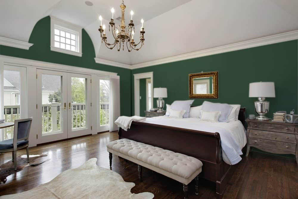 British Racing Green Master Bedroom Interior - Pantone 350