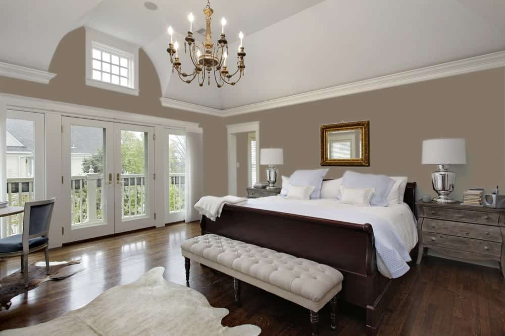 Dark Beige Master Bedroom Interior - Pantone 404