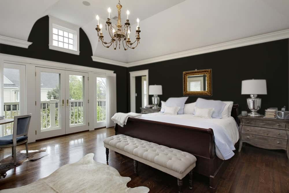 Black Master Bedroom Interior - Pantone 419