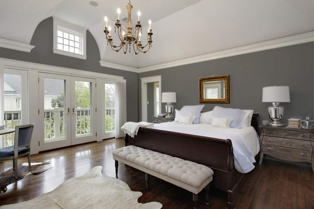 Dark Gray Beige Master Bedroom Interior - Pantone 425