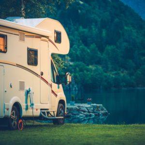 Motorhome camping on lake
