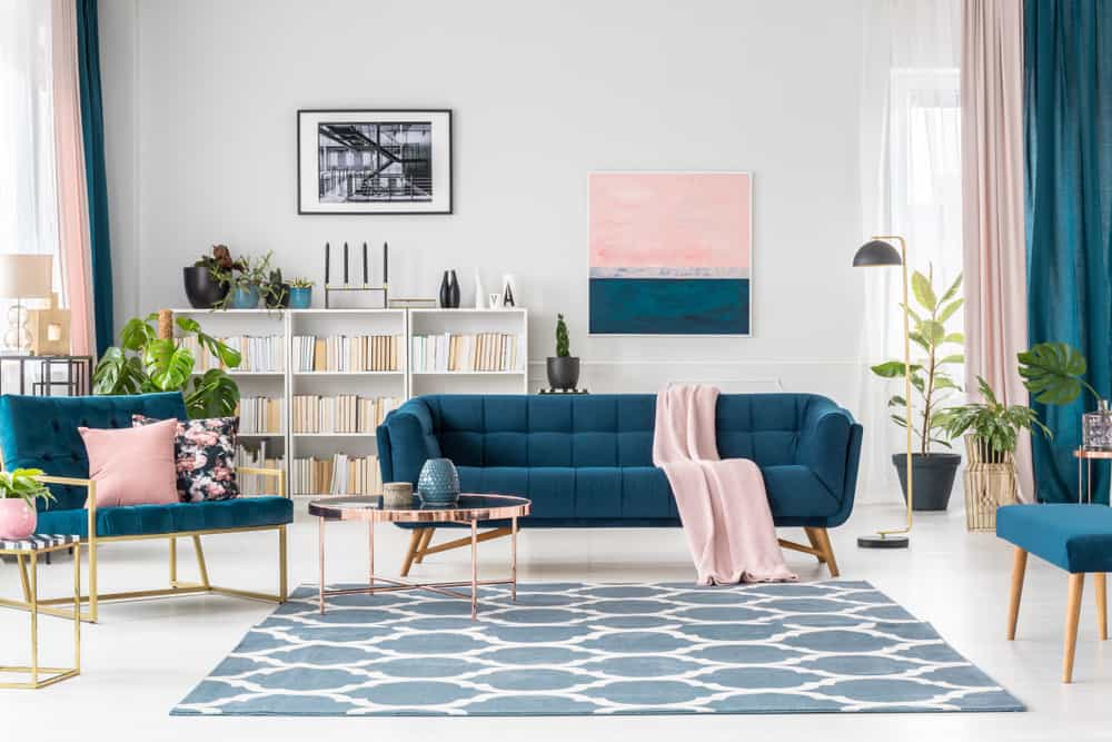 Room with blue and pink accent colors