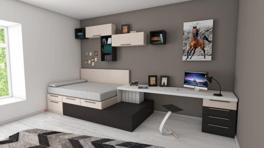Studio apartment bedroom with plenty of storage solutions.